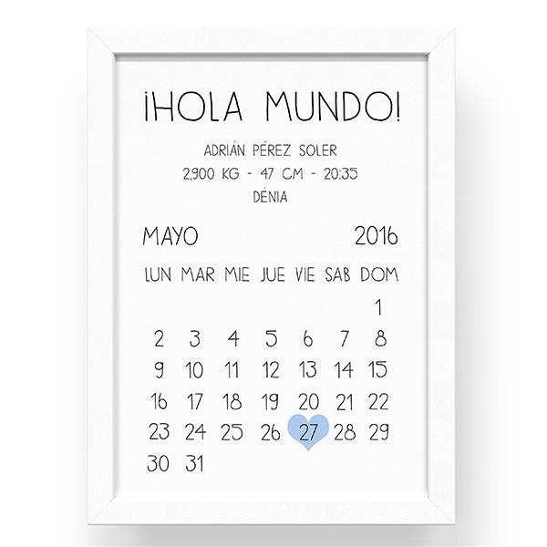 Cuadro-marco con lámina de datos de nacimiento