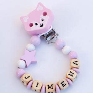 Chupetero personalizado zorrito - rosa claro